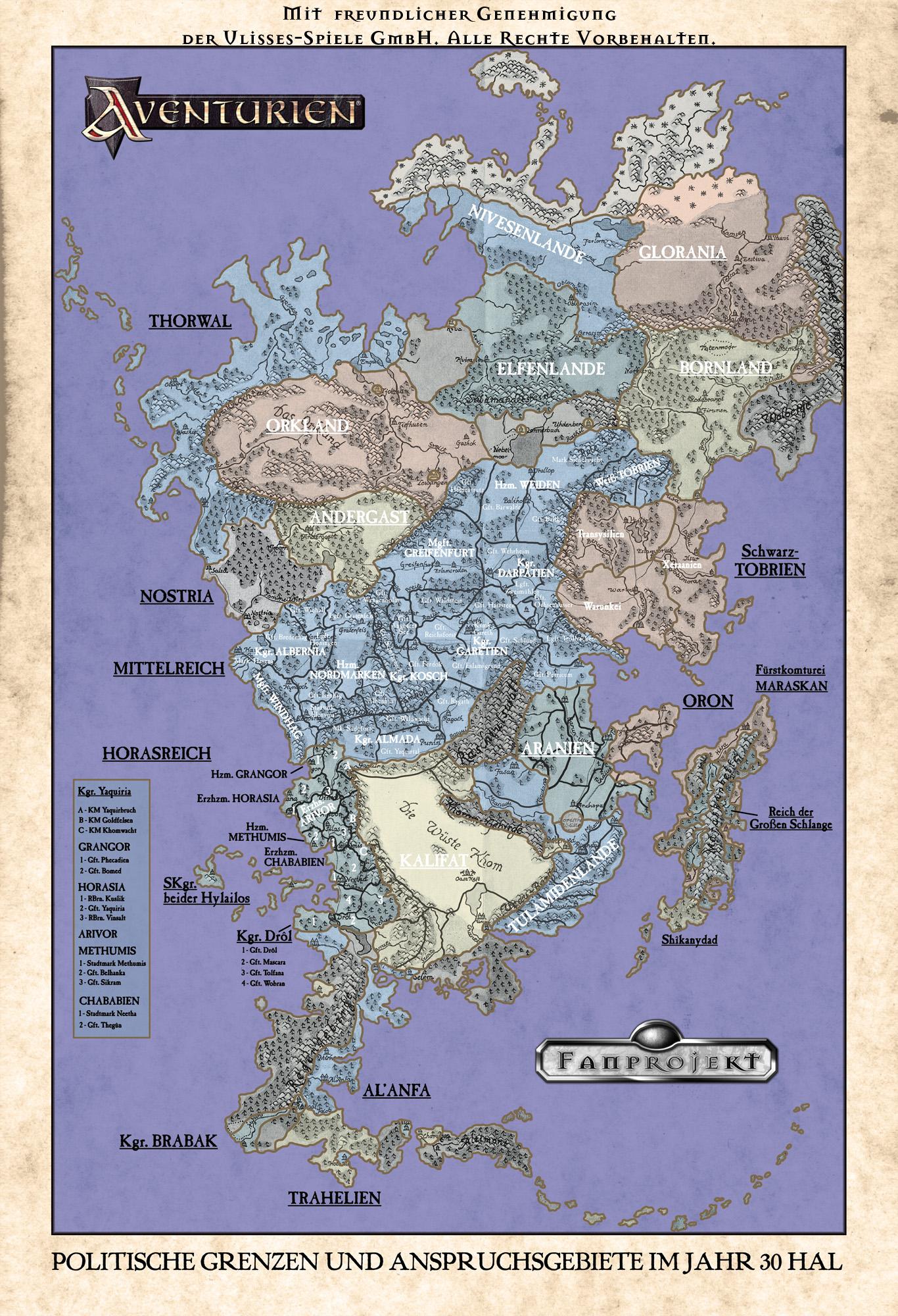 Politische Grenzen und Anspruchsgebiete im Jahr 30 HAL